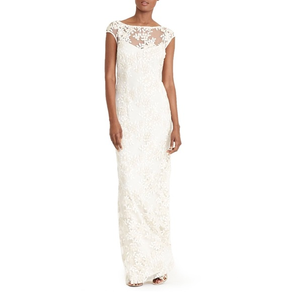 9c2bc3c3cca Ralph Lauren gold ivory lace floral evening gown